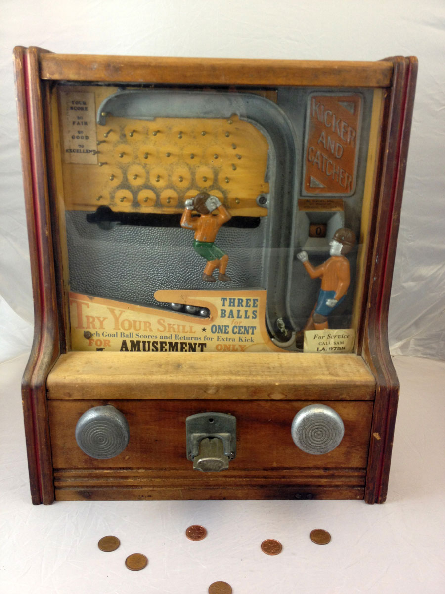 Fabulous 1930s Coin-Operated Penny Arcade Kicker and Catcher Football Game