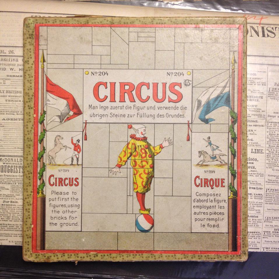 Wooden Circus Puzzle: ca 1890