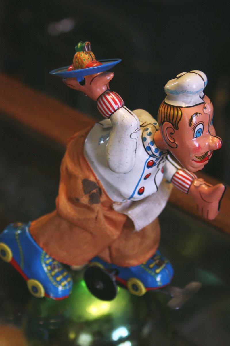 Waiter on Roller Skates Tin Toy