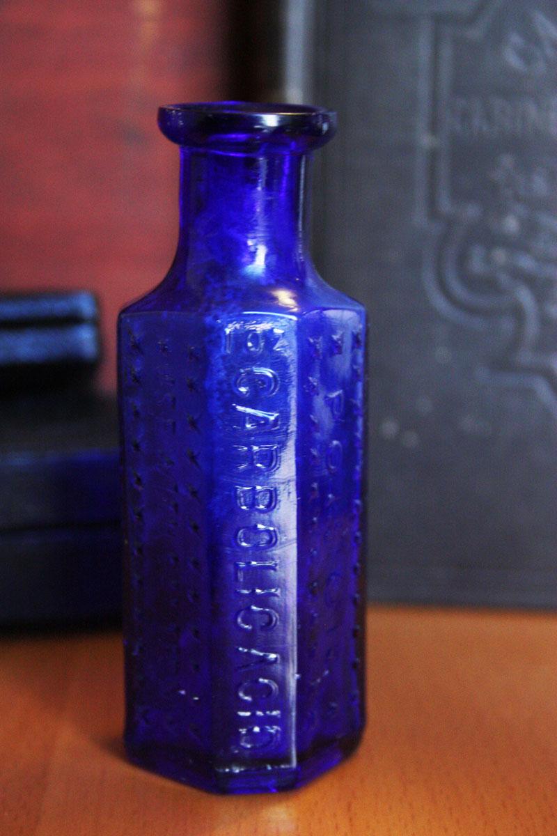 """Antique Cobalt Blue """"O.C.P."""" 1oz POISON Bottle"""