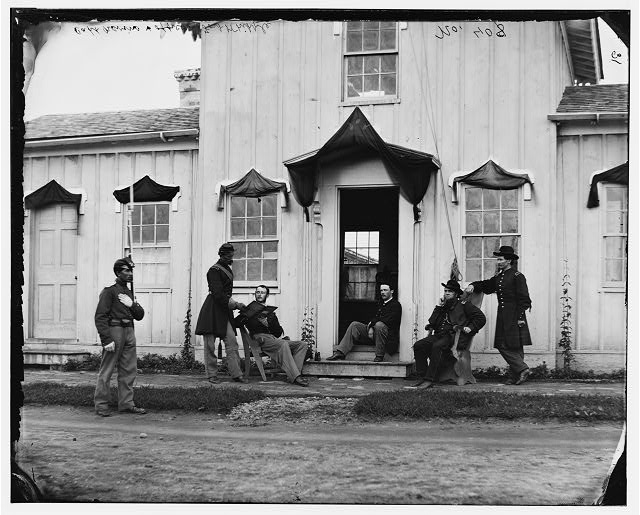 + Click on image to enlarge. Officers in front of Fort Whipple headquarters, Arlington, VA Arlington, VA. Captain Nevins and officers in front of headquarters, Fort Whipple, with mourning crepe drawn over doors and windows. Photo by William Morris Smith, c. 1865.