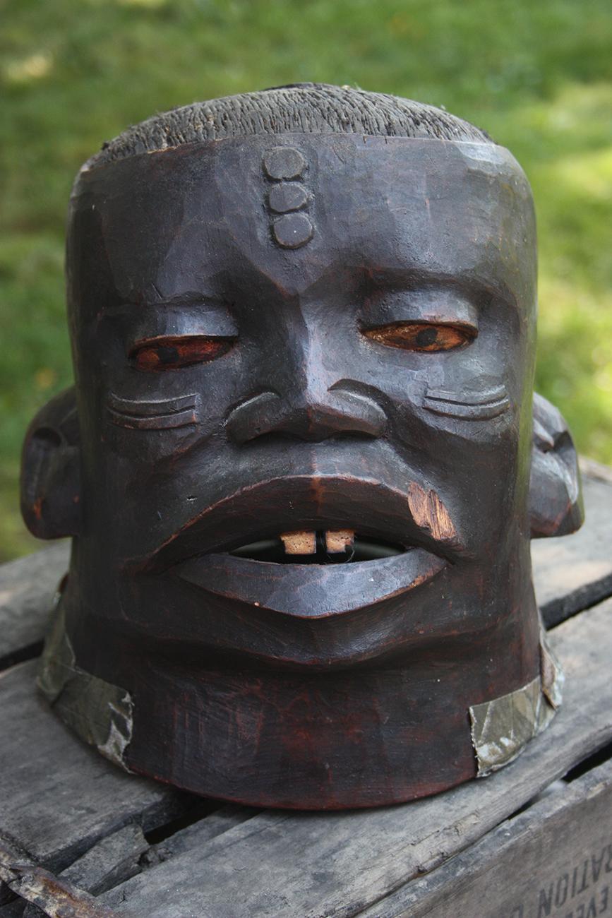 Wooden African Helmet Mask