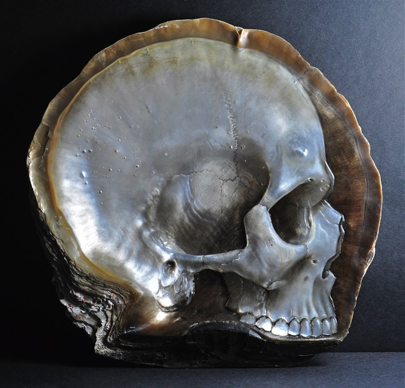 Skulls_Carved_into_Mother_of_Pearl_Shells_by_Gregory_Halili_2014_01